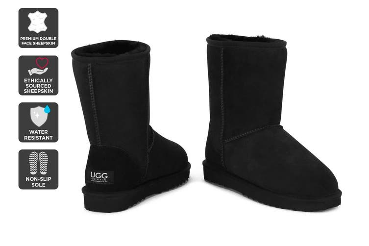 Outback Ugg Boots Short Classic - Premium Double Face Sheepskin (Black, Size 4M / 5W US)