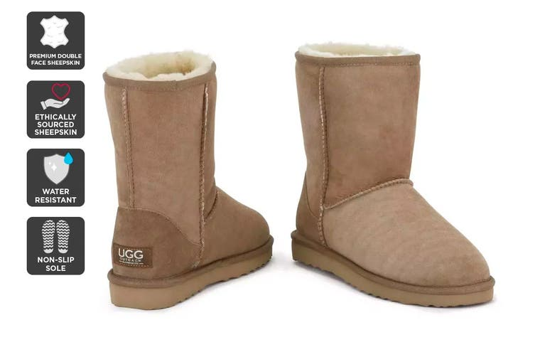 Outback Ugg Boots Short Classic - Premium Double Face Sheepskin (Chestnut, Size 4M / 5W US)