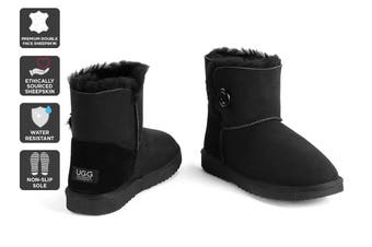 Outback Ugg Boots Mini Button - Premium Double Face Sheepskin (Black, Size 4M / 5W US)