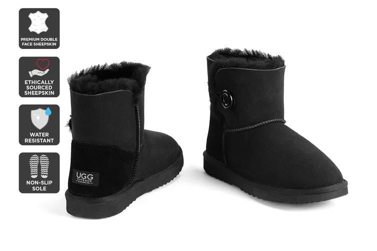 Outback Ugg Boots Mini Button - Premium Double Face Sheepskin (Black, Size 4M / 5W US)