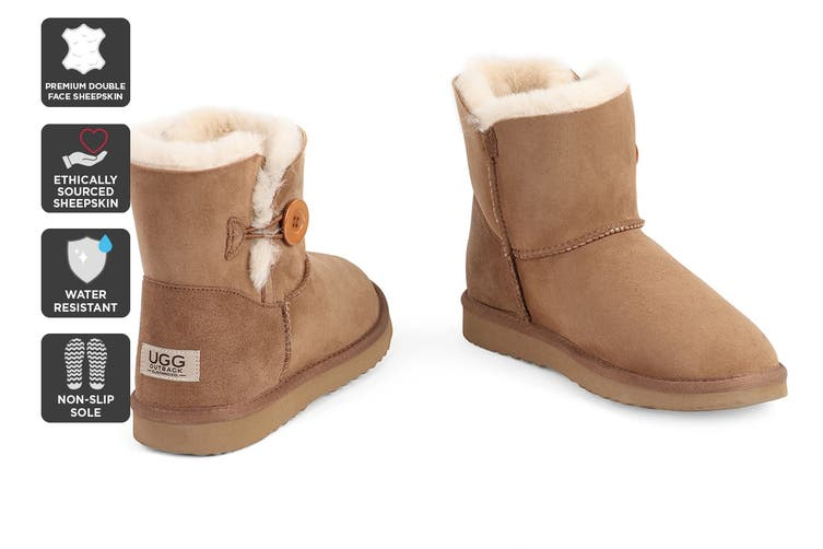 Outback Ugg Boots Mini Button - Premium Double Face Sheepskin (Chestnut, Size 4M / 5W US)
