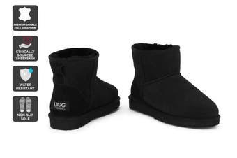 Outback Ugg Boots Mini Classic - Premium Sheepskin (Black)