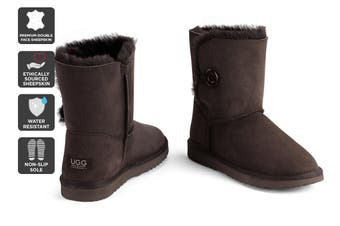 Outback Ugg Boots Short Button - Premium Sheepskin (Chocolate)
