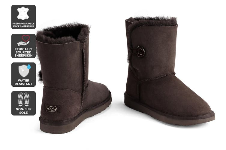 Outback Ugg Boots Short Button - Premium Double Face Sheepskin (Chocolate, Size 4M / 5W US)