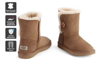 Outback Ugg Boots Short Button - Premium Double Face Sheepskin (Chestnut, Size 4M / 5W US)