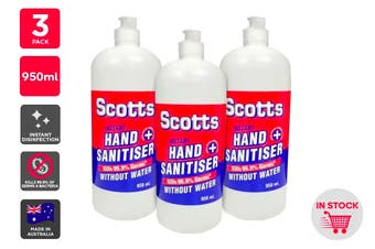 Scotts Instant Hand Sanitiser Made in Australia (950ml) - 3 Pack
