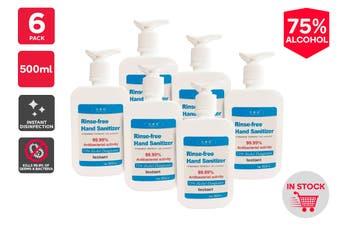 75% Alcohol Instant Hand Sanitiser (500ml) - 6 Pack Pump Bottle