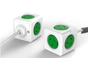 Allocacoc PowerCube 1.5m with 5 Power Outlets - Green (5300/AUEXPCGRN)
