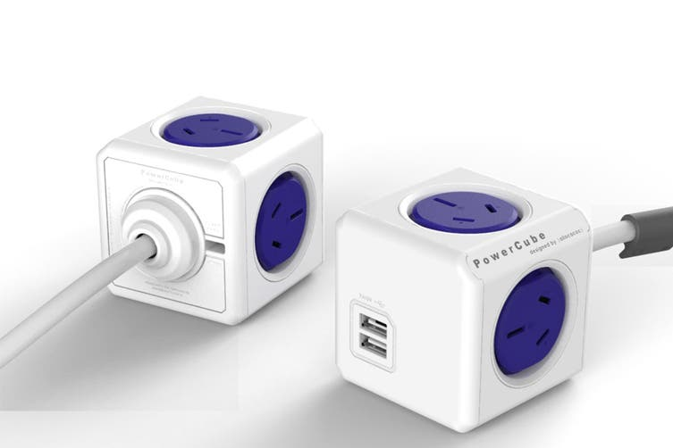 Allocacoc PowerCube 1.5m with 4 Power Outlets & 2 USB - Blue (5400/AUEUPCBLU)