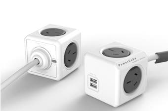 Allocacoc PowerCube 1.5m with 4 Power Outlets & 2 USB - Grey (5400/AUEUPCGRY)