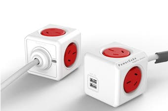 Allocacoc PowerCube 1.5m with 4 Power Outlets & 2 USB - Red (5400AUEUPCRED)