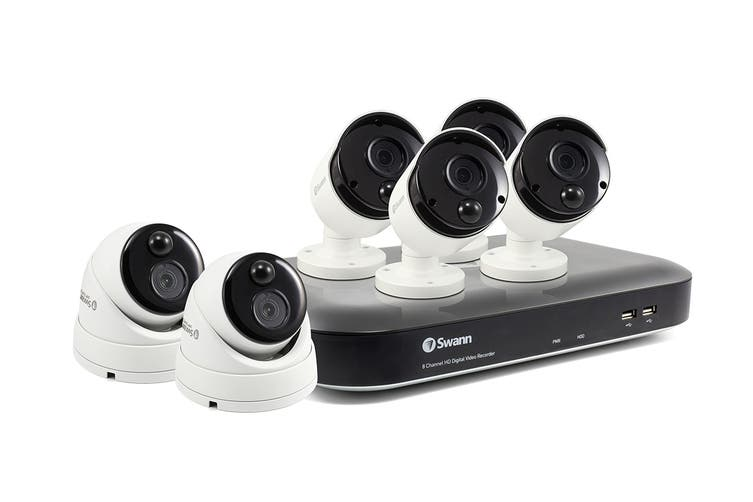 Swann 8 Channel 5MP Super HD 2TB 4K Capable NVR with 4 x NHD-866MSB & 2 x NHD-866MSD 5MP True Detect Dome Cameras (SWNVK-875804B2D)