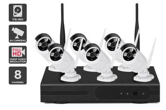 Kogan 8 Channel 1080P 1TB Super Compression Security System with 6 Wireless Cameras