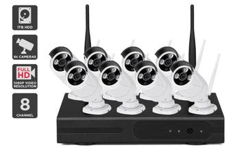 Kogan 8 Channel 1080P 1TB Super Compression Security System with 8 Wireless Cameras