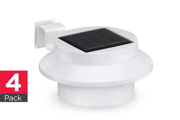 Solar Powered LED Gutter Lights (White) - 4 Pack