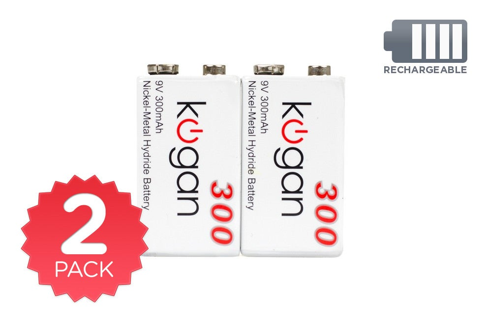 Batteries - 2 Pack Kogan Rechargeable 9V Batteries