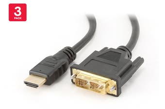 3 Pack DVI to HDMI Cable, Male to Male (1.2m)