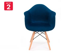 Shangri-La Set of 2 Eiffel DAW Fabric Dining Armchairs - Eames Replica (Dark Blue)