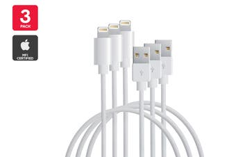 3 Pack Apple MFI Certified Lightning to USB Cable (1m)