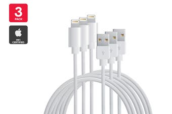 3 Pack Apple MFI Certified Lightning to USB Cable (2m)