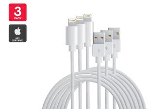 3 Pack Apple MFI Certified Lightning to USB Cable (3m)