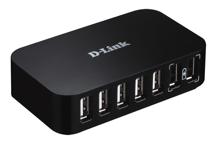 D-Link 7-Port USB 2.0 Hub with 2 Fast Charge Ports (DUB-H7)