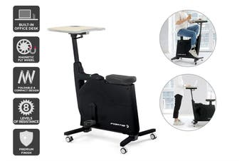 Fortis Home & Office Exercise Bike with Height Adjustable Desk (Black)
