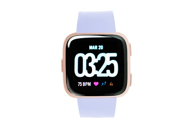 Fitbit Versa Smart Fitness Watch (Periwinkle, Rose Gold)
