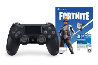 PlayStation Dualshock 4 Controller (Black with Bonus Fortnite Neo Versa Bundle)