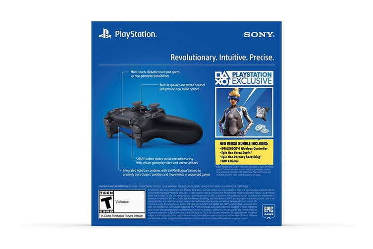 PlayStation Dualshock 4 Controller (Black with Bonus Fortnite Neo Versa Bundle)