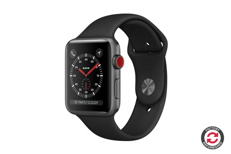 Apple Watch Series 3 Refurbished (Space Grey, 38mm, Black Sport Band, GPS + Cellular) - A Grade