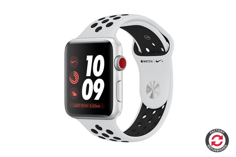 Apple Watch Series 3 Refurbished (Silver, 38mm, Pure Platinum/Black Nike Sport Band, GPS + Cellular) - A Grade