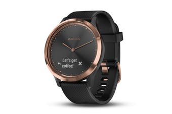 Garmin Vivomove HR (Small/Medium, Black with Rose Gold Hardware)