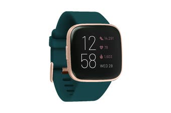 Fitbit Versa 2 Smart Fitness Watch (Emerald, Copper Rose Aluminium)