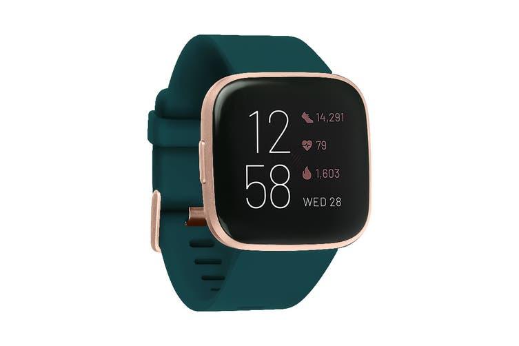Fitbit Versa 2 Smart Fitness Watch (Emerald, Copper Rose Aluminium)