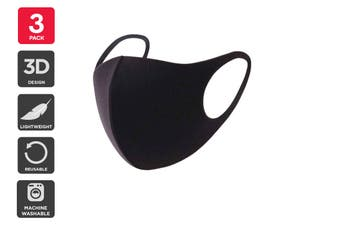 Reusable Washable Lightweight Face Mask (Black, 3 Pack)
