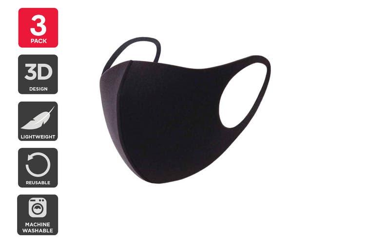 Reusable Washable Lightweight Fashion Face Mask (Black, 3 Pack)