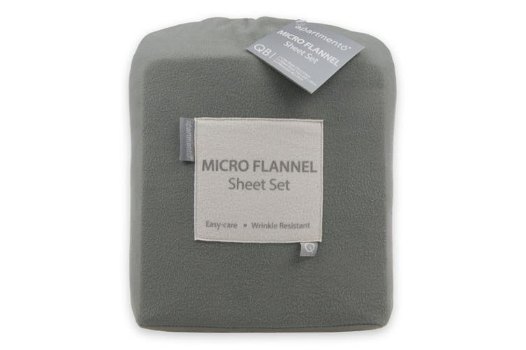 Apartmento Micro Flannel Sheet Set (Grey, Single)