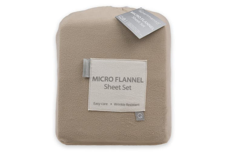 Apartmento Micro Flannel Sheet Set Taupe (Single)