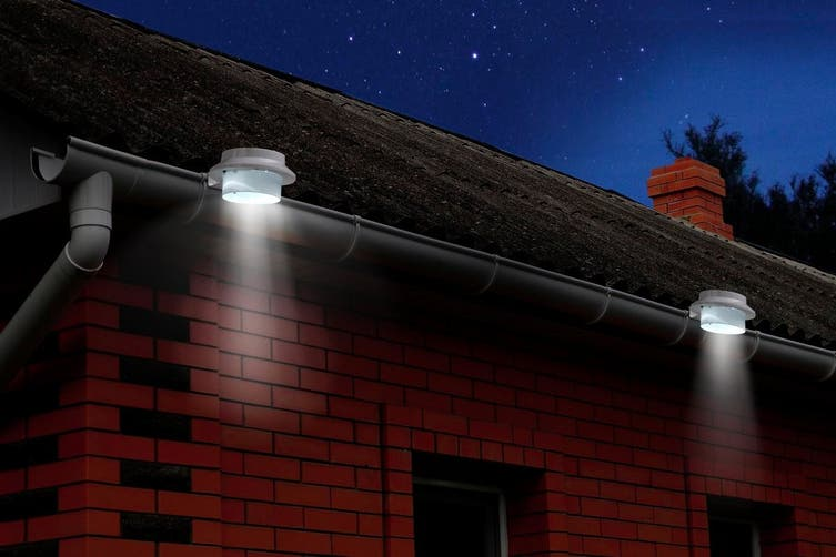 Solar Powered LED Gutter Lights (White) - 8 Pack