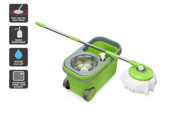 Kogan Magic 360° Spin Mop with Roller Bucket and 5 Mop Heads
