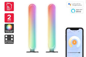 Kogan SmarterHome™ Colour & Warm/Cool White Smart LED Ambient Bar Light - Pack of 2