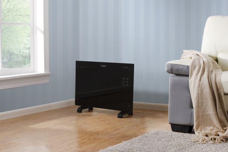 Kogan 1500W Black Glass Portable Electric Panel Heater