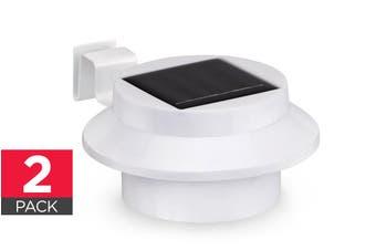 Solar Powered LED Gutter Lights (White) - 2 Pack