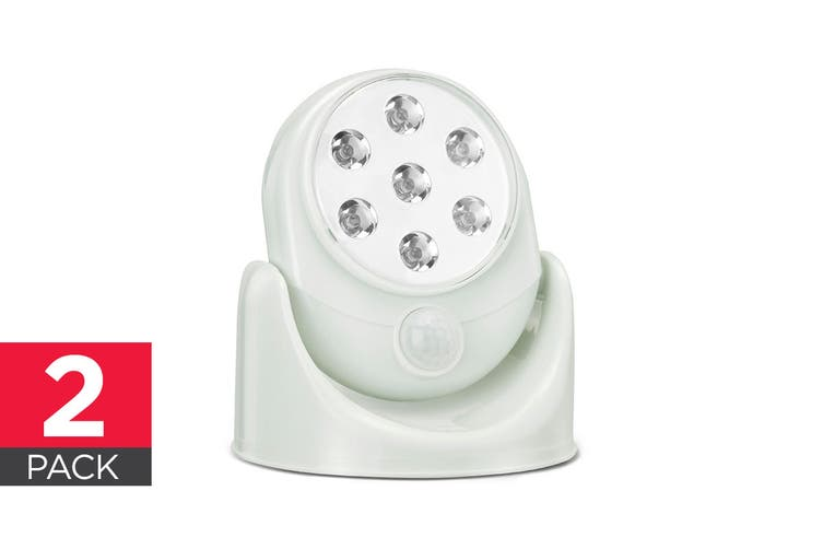 Wall Mounted Motion Sensor Cordless LED Light (White) - 2 Pack