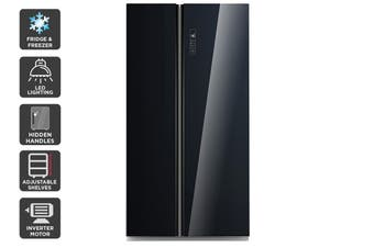 Kogan 584L Side by Side Fridge - Black Glass