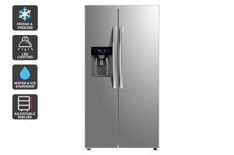 Kogan 573L Side by Side Fridge with Ice and Water Dispenser - Stainless Steel