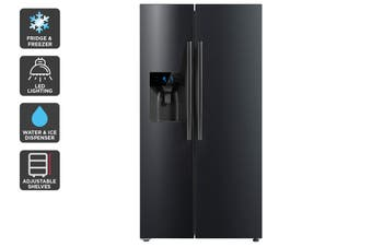 Kogan 573L Side by Side Fridge with Ice and Water Dispenser - Black Stainless Steel