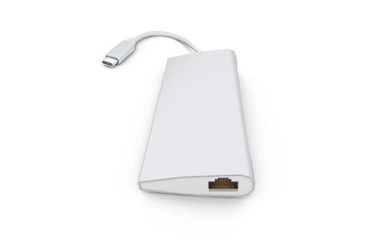 Kogan 8-in-1 Type-C PD Hub with Gigabit Ethernet Port & 4K 30Hz HDMI (Silver)