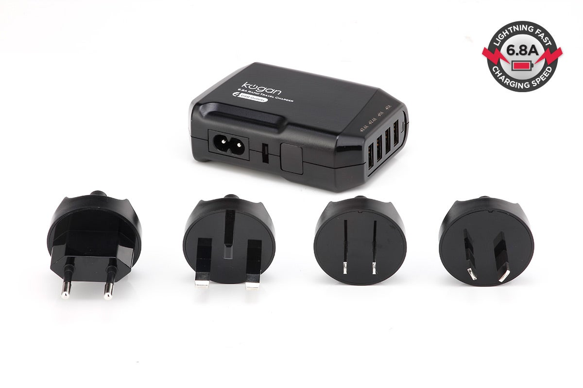 USB Chargers - Kogan 6.8A 4-Port USB Rapid Travel Charger